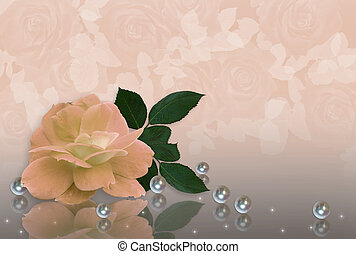 Wedding Invitation Peach rose and pearls - Image and...