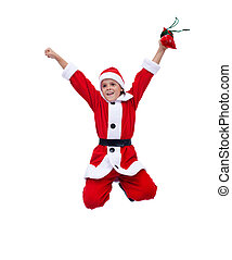 Happy boy in santa costume jumping - isolated