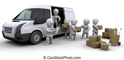 3D moving men handling materials isolated over white
