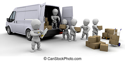 3D removal van and men with boxes isolated