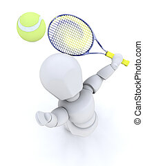 3D tennis player serving isolated over white