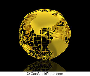 3D World map isolated over a black background