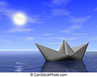 Boat in the sea - Origami boat in the sea. 3d render.