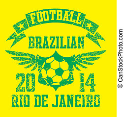 brazilian football retro style vector art