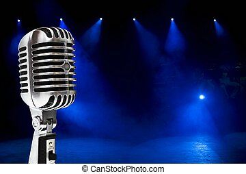 Microphone On Colorful Background - A retro, 60s...