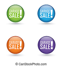 garage sale labels - abstract garage sale labels on white...