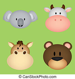 animals face - abstract cute animals face on green...