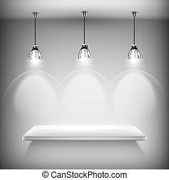White Empty Shelf Illuminated By Spotlights Vector...