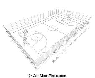 Basketball court. Wire frame. 3d render isolated on a black...
