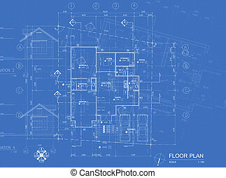 Blueprint overlay - Overlay of house blueprint : floor plan,...
