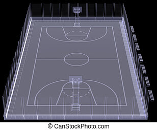 Basketball court. X-ray. 3d render isolated on a black...