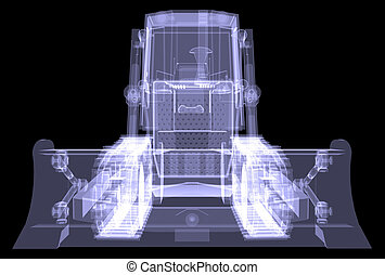 Bulldozer X-ray 3d render isolated on a black background