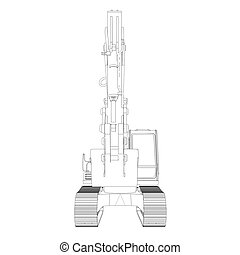Excavator. Wire frame. 3d render isolated on a white...