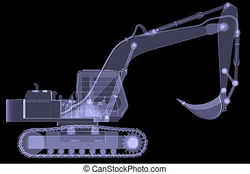 Excavator X-ray 3d render isolated on a black background
