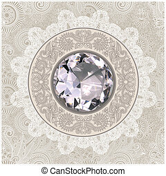 floral background with diamond jewel - hand draw ornate...