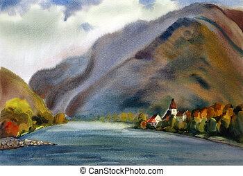 Austrian landscape with mountain lake painted by watercolor