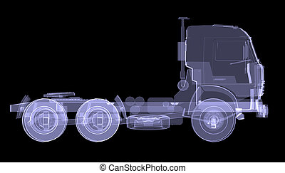Big truck. X-ray. Isolated 3d render on black background