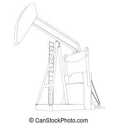 Oil pump. Wire frame