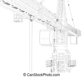 Wire frame tower crane 3d rendering on white background