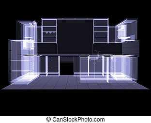Kitchen. X-ray rendering - Kitchen. The X-ray rendering on...
