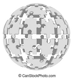 Sphere consisting of puzzles. 3d render isolated on white...