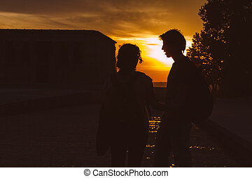 Couple at Sunset in Temple of Debod, Madrid