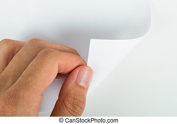 Hand Turning Blank Page - Hand turning blank page, isolated...