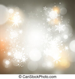 Shimmering Christmas Background with lights and snowflakes...