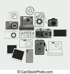 Vintage and Modern Camera Set - A collection of modern and...
