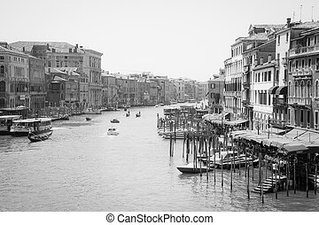Grand Canal in black and white - VENICE, ITALY - JUNE 17:...