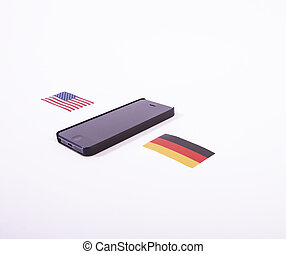 Surveillance controversy between US - A mobile phone with...