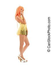 lovely girl with orange hair over white