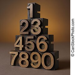 Letterpress Numbers 0 to 9 stacked in a pyramid shape on...