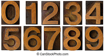 Letterpress Numbers 0 to 9 isolated - Wood Letterpress...