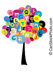 árvore, abstratos, letras, alfabeto