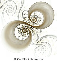 Abstract spiral art backdrop on black background