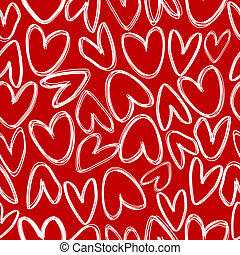 Red seamless with doodle hearts