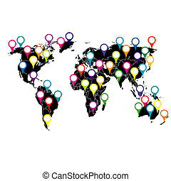 World map with colored pointers
