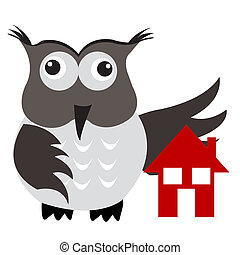 Concept of home insurance with house under owl wing...