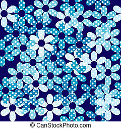 Blue dotted flowers seamless background