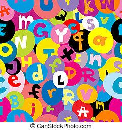 alfabeto, letras,  seamless, Padrão