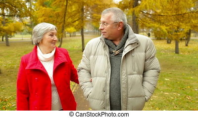 Seniors On A Walk - Senior couple taking a walk admiring the...