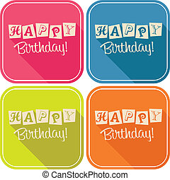 Happy Birthday Greeting Cards - Set of vector birthday...