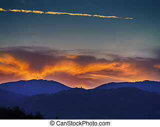 Landscape Sunset in Tuscany - Landscape with sunset in...