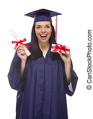Female Graduate with Diploma and Stack of Gift Wrapped...