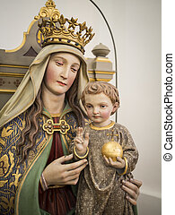 Statue Maria - Statue of Maria in a Bavarian church