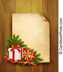 Christmas background with red gift ribbon with gift boxes...