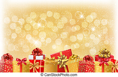 Christmas light background with gift boxes and snowflake...