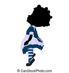 Little African American Alice In Wonderland Illustration -...
