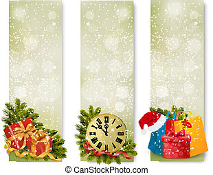 old_holiday_banner - Three christmas banners with gift boxes...